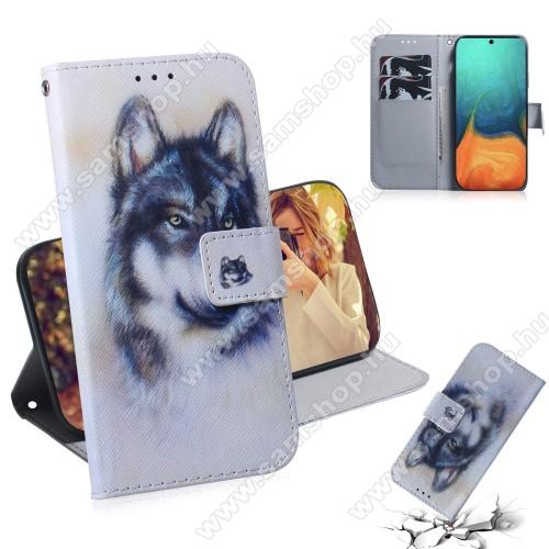 Notesz / mappa tok - FARKAS MINTÁS - oldalra nyíló, rejtett mágneses záródás, belső zseb, asztali tartó funkció, csuklópánt, szilikon belső - SAMSUNG Galaxy A71 (SM-A715F)