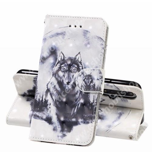 Notesz / mappa tok - FARKAS MINTÁS - oldalra nyíló, rejtett mágneses záródás, bankkártyatartó / fényképtartó zseb, asztali tartó funkció, szilikon belső - HUAWEI Honor 20 / HUAWEI Honor 20S / HUAWEI nova 5T