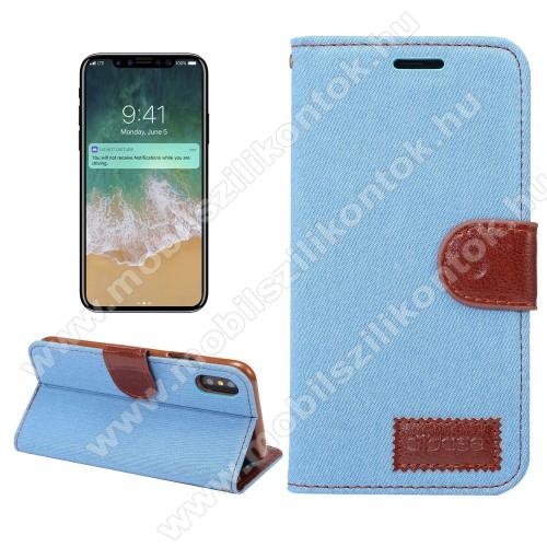 Notesz / mappa tok - FARMER VILÁGOSKÉK - oldalra nyíló, rejtett mágneses záródás, belső zseb, asztali tartó funkció, szilikon belső - APPLE iPhone X / APPLE iPhone XS