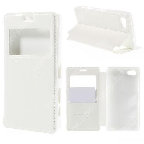 Notesz / mappa tok - FEHÉR - oldalra nyíló ablakos flip cover, hívószámkijelzés, bankkártya tartó, szilikon belső, mágneses záródás - SONY Xperia Z5 Compact