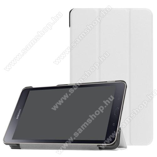 Notesz / mappa tok - FEHÉR - oldalra nyíló flip cover, TRIFOLD asztali tartó funkciós, mágneses záródás - SAMSUNG SM-T380 Galaxy Tab A 8.0 (2017) / SAMSUNG SM-T385 Galaxy Tab A 8.0 (2017) (4G/LTE)
