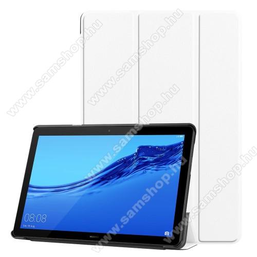Notesz / mappa tok - FEHÉR - oldalra nyíló flip cover, TRIFOLD asztali tartó funkciós, mágneses záródás - HUAWEI MediaPad T5 10