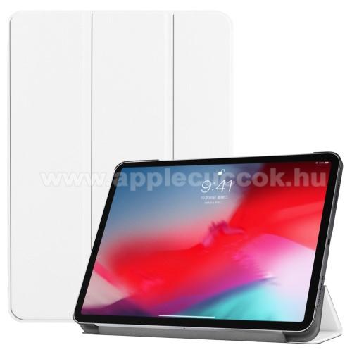 Notesz / mappa tok - FEHÉR - oldalra nyíló flip cover, TRIFOLD asztali tartó funkciós, mágneses záródás - APPLE iPad Pro 11 (2018)