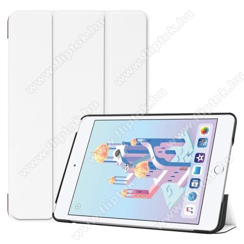 Notesz / mappa tok - FEHÉR - oldalra nyíló flip cover, TRIFOLD asztali tartó funkciós, mágneses záródás, műanyag belső - Apple iPad mini (2019)