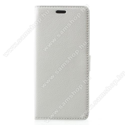 Notesz / mappa tok - FEHÉR - oldalra nyíló, rejtett mágneses záródás, belső zseb, asztali tartó funkció, szilikon belső - SAMSUNG SM-A600F Galaxy A6 (2018)