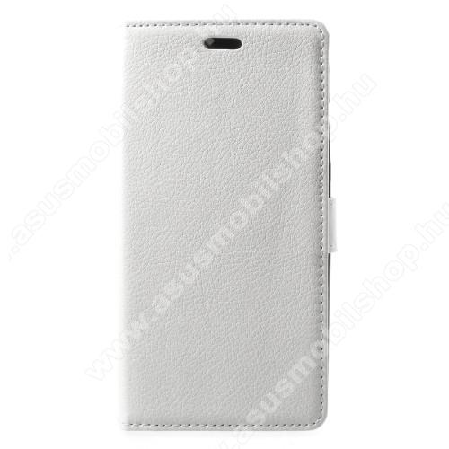 Notesz / mappa tok - FEHÉR - oldalra nyíló, rejtett mágneses záródás, belső zseb, asztali tartó funkció, szilikon belső - Asus Zenfone 4 Max (ZC554KL)