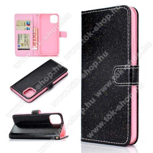 Notesz / mappa tok - FEKETE - csillogó, flitteres, oldalra nyíló, rejtett mágneses záródás, belső zseb, asztali tartó funkció, szilikon belső - APPLE iPhone 11
