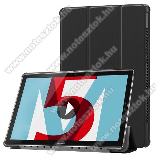 Notesz / mappa tok - FEKETE - oldalra nyíló flip cover, TRIFOLD asztali tartó funkciós, mágneses záródás - HUAWEI MediaPad M5 10 (2018) / HUAWEI MediaPad M5 10 Pro (2018)