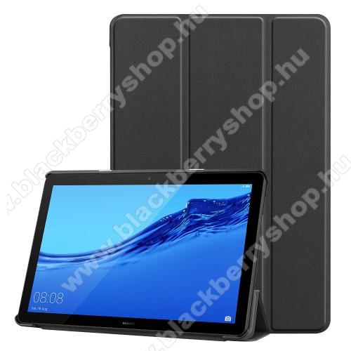 Notesz / mappa tok - FEKETE - oldalra nyíló flip cover, TRIFOLD asztali tartó funkciós, mágneses záródás - HUAWEI MediaPad T5 10
