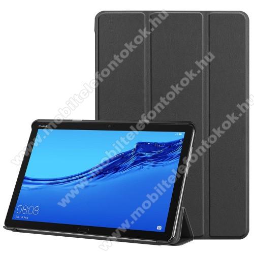 Notesz / mappa tok - FEKETE - oldalra nyíló flip cover, TRIFOLD asztali tartó funkciós, mágneses záródás - HUAWEI MediaPad M5 Lite 10 / HUAWEI MediaPad C5 10