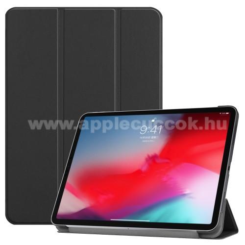 Notesz / mappa tok - FEKETE - oldalra nyíló flip cover, TRIFOLD asztali tartó funkciós, mágneses záródás - APPLE iPad Pro 11 (2018)