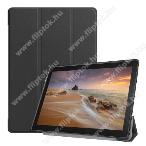 Notesz / mappa tok - FEKETE - oldalra nyíló flip cover, TRIFOLD asztali tartó funkciós, mágneses záródás, műanyag belső - Lenovo Tab E10
