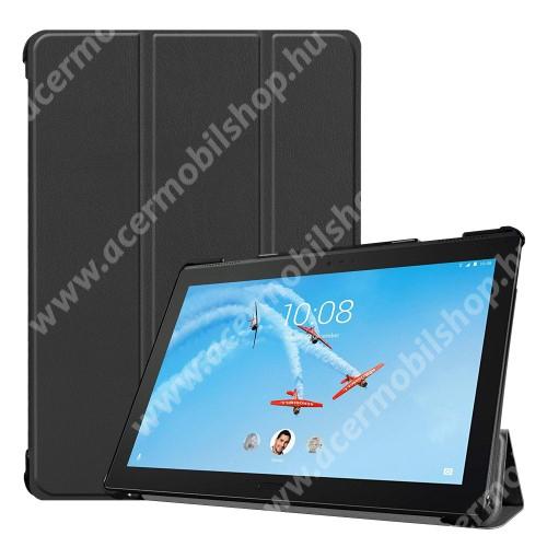 Notesz / mappa tok - FEKETE - oldalra nyíló flip cover, TRIFOLD asztali tartó funkciós, mágneses záródás, erősített sarkok, műanyag belső - Lenovo Tab P10 (TB-X705F)