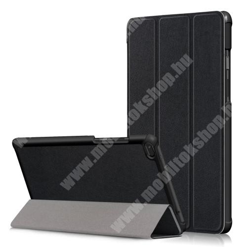 Notesz / mappa tok - FEKETE - oldalra nyíló flip cover, TRIFOLD asztali tartó funkciós, erősített sarkok, mágneses záródás, műanyag belső - Lenovo Tab E8 (TB-8304F1)