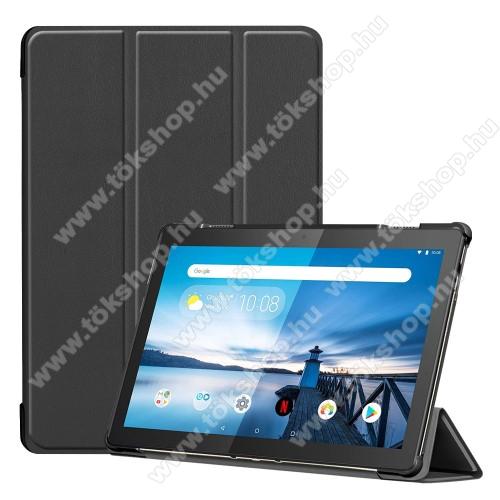 Notesz / mappa tok - FEKETE - oldalra nyíló flip cover, TRIFOLD asztali tartó funkciós, mágneses záródás, erősített sarkok, műanyag belső - Lenovo Tab M10 (TB-X605F)