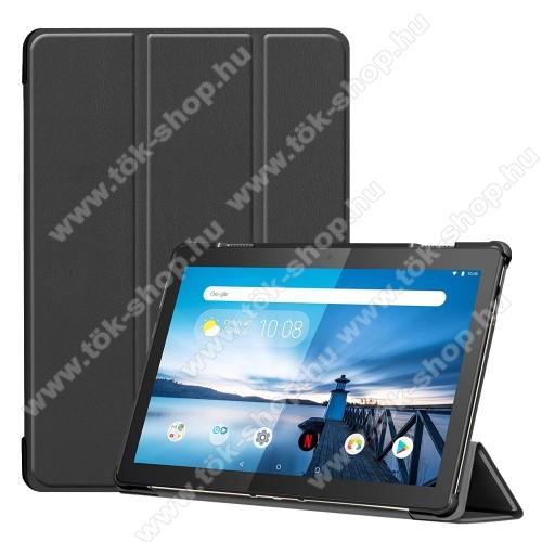 Notesz / mappa tok - FEKETE - oldalra nyíló flip cover, TRIFOLD asztali tartó funkciós, mágneses záródás, erősített sarkok, műanyag belső - Lenovo Tab M10 (TB-X605F / TB-X505F)