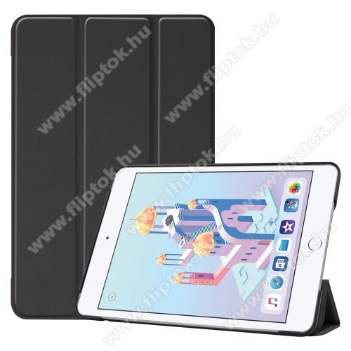 Notesz / mappa tok - FEKETE - oldalra nyíló flip cover, TRIFOLD asztali tartó funkciós, mágneses záródás, műanyag belső - Apple iPad mini (2019)