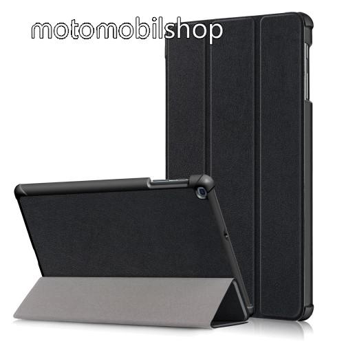Notesz / mappa tok - FEKETE - oldalra nyíló flip cover, TRIFOLD asztali tartó funkciós, erősített sarkok, mágneses záródás, műanyag belső - SAMSUNG Galaxy Tab A 10.1 Wi-Fi (2019) (SM-T510) / SAMSUNG Galaxy Tab A 10.1 LTE (2019) (SM-T515)