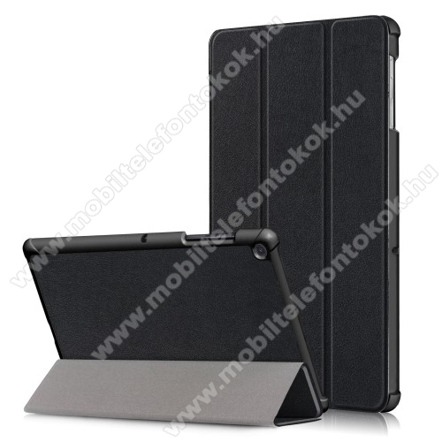 Notesz / mappa tok - FEKETE - oldalra nyíló flip cover, TRIFOLD asztali tartó funkciós, erősített sarkok, mágneses záródás, műanyag belső - SAMSUNG SM-T725 Galaxy Tab S5e 10.5 LTE / SAMSUNG SM-T720 Galaxy Tab S5e 10.5 Wi-Fi