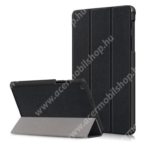 Notesz / mappa tok - FEKETE - oldalra nyíló flip cover, TRIFOLD asztali tartó funkciós, erősített sarkok, mágneses záródás, műanyag belső - SAMSUNG SM-T295 Galaxy Tab A 8.0 LTE (2019) / SAMSUNG SM-T290 Galaxy Tab A 8.0 Wi-Fi (2019)