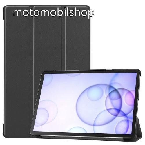 Notesz / mappa tok - FEKETE - oldalra nyíló flip cover, TRIFOLD asztali tartó funkciós, erősített sarkok, mágneses záródás, műanyag belső - SAMSUNG SM-T860 Galaxy Tab S6 (Wi-Fi) / SAMSUNG SM-T865 Galaxy Tab S6 (LTE)