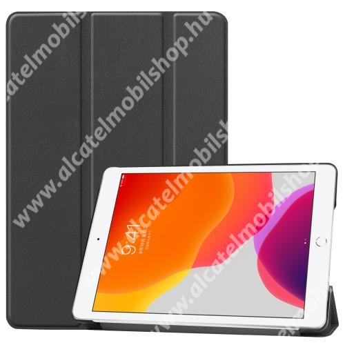 Notesz / mappa tok - FEKETE - oldalra nyíló flip cover, TRIFOLD asztali tartó funkciós, műanyag belső - APPLE iPad 10.2 (7th Generation)