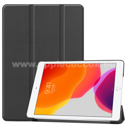Notesz / mappa tok - FEKETE - oldalra nyíló flip cover, TRIFOLD asztali tartó funkciós, műanyag belső - APPLE iPad 10.2 (7th Generation) (2019) / iPad 10.2 (8th Generation) (2020)