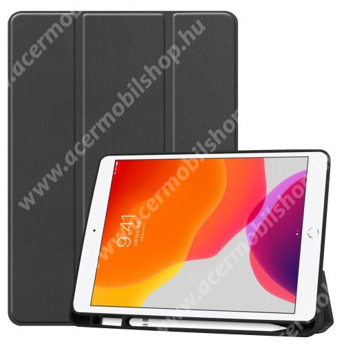 Notesz / mappa tok - FEKETE - oldalra nyíló flip cover, TRIFOLD asztali tartó funkciós, mágneses záródás, belső ceruzatartó, szilikon belső - APPLE iPad 10.2 (7th Generation)