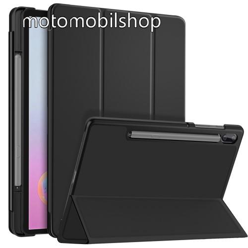 Notesz / mappa tok - FEKETE - oldalra nyíló flip cover, TRIFOLD asztali tartó funkciós, mágneses záródás, belső ceruzatartó, műanyag belső - SAMSUNG SM-T860 Galaxy Tab S6 (Wi-Fi) / SAMSUNG SM-T865 Galaxy Tab S6 (LTE)