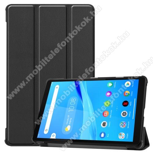 Notesz / mappa tok - FEKETE - oldalra nyíló flip cover, TRIFOLD asztali tartó funkciós, erősített sarkok, mágneses záródás, műanyag belső - Lenovo Tab M8 (HD) / Lenovo Tab M8 (FHD)