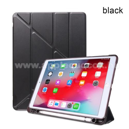 Notesz / mappa tok - FEKETE - oldalra nyíló flip cover, Origami asztali tartó funkciós, szilikon belső, ceruza tartó - APPLE iPad 10.2 (7th Generation) / APPLE iPad Air (2019) / APPLE iPad Pro 10.5 (2017)