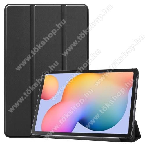 Notesz / mappa tok - FEKETE - oldalra nyíló flip cover, TRIFOLD asztali tartó funkciós, erősített sarkok, mágneses záródás, műanyag belső - SAMSUNG SM-P610 Galaxy Tab S6 Lite (Wi-Fi) / SAMSUNG SM-P615 Galaxy Tab S6 Lite (LTE)