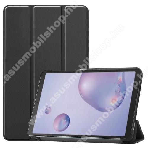 Notesz / mappa tok - FEKETE - oldalra nyíló flip cover, TRIFOLD asztali tartó funkciós, erősített sarkok, mágneses záródás, műanyag belső - SAMSUNG SM-T307U Galaxy Tab A 8.4 (2020)