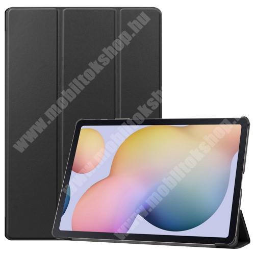 Notesz / mappa tok - FEKETE - oldalra nyíló flip cover, TRIFOLD asztali tartó funkciós, erősített sarkok, műanyag belső - SAMSUNG Galaxy Tab S7 Plus (SM-T970/T976B) / Tab S7 FE (SM-T730) / Tab S7 FE 5G (SM-T736)