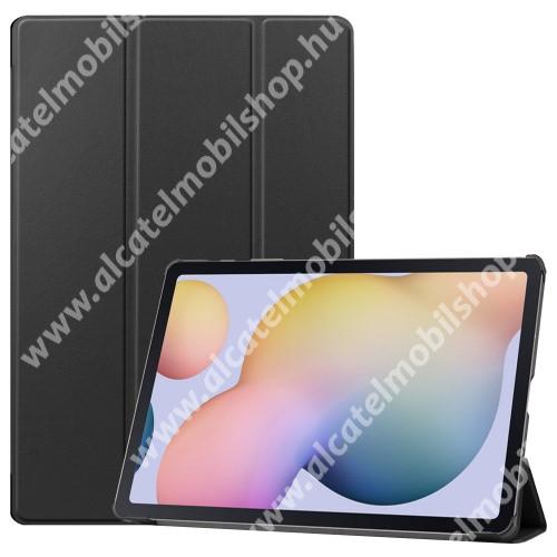Notesz / mappa tok - FEKETE - oldalra nyíló flip cover, TRIFOLD asztali tartó funkciós, erősített sarkok, műanyag belső - SAMSUNG Galaxy Tab S7 Plus (SM-T970/T976B)