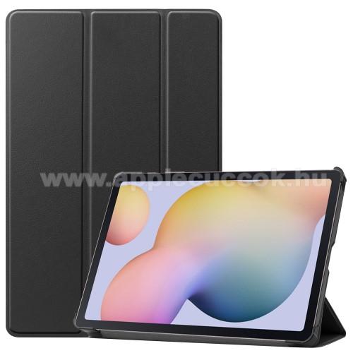 Notesz / mappa tok - FEKETE - oldalra nyíló flip cover, TRIFOLD asztali tartó funkciós, erősített sarkok, műanyag belső - SAMSUNG Galaxy Tab S7 (SM-T870/T875/T876B)