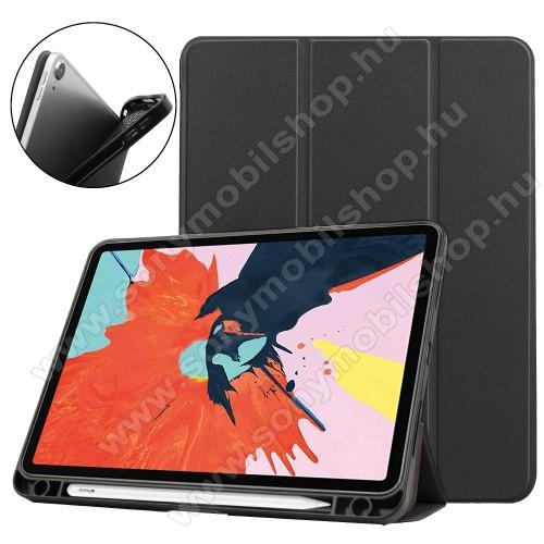 Notesz / mappa tok - FEKETE - oldalra nyíló flip cover, TRIFOLD asztali tartó funkciós, belső ceruzatartó, szilikon belső - APPLE iPad Air (2020) (4th generation)