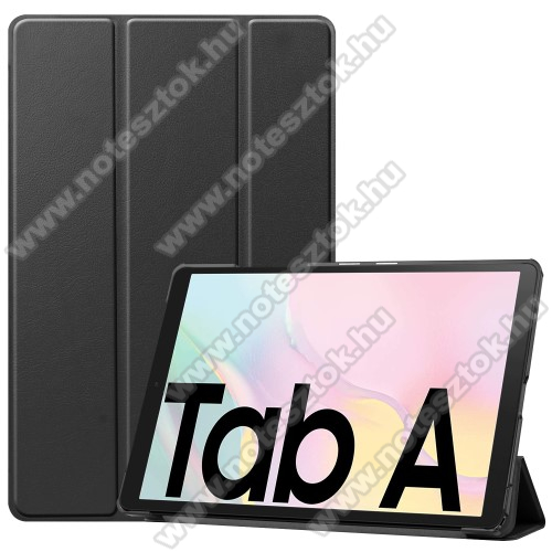 Notesz / mappa tok - FEKETE - oldalra nyíló flip cover, TRIFOLD asztali tartó funkciós, mágneses záródás, műanyag belső - SAMSUNG Galaxy Tab A7 10.4 (2020) (SM-T500/SM-T505)