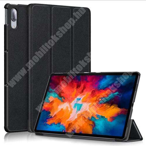 Notesz / mappa tok - FEKETE - oldalra nyíló flip cover, TRIFOLD asztali tartó funkciós, mágneses záródás, műanyag belső - Lenovo Tab P11 Pro (TB-J706F) / Lenovo Tab XiaoXin P11 Pro