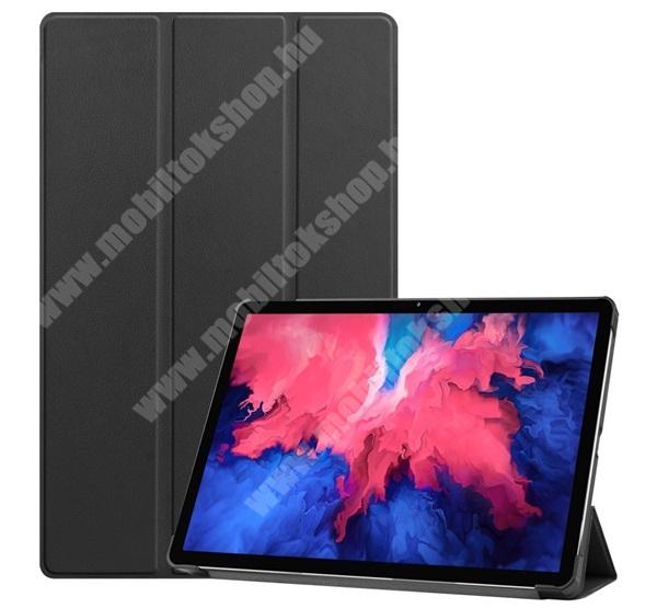 Notesz / mappa tok - FEKETE - oldalra nyíló flip cover, TRIFOLD asztali tartó funkciós, mágneses záródás, műanyag belső - LENOVO Tab P11 (TB-J606F)