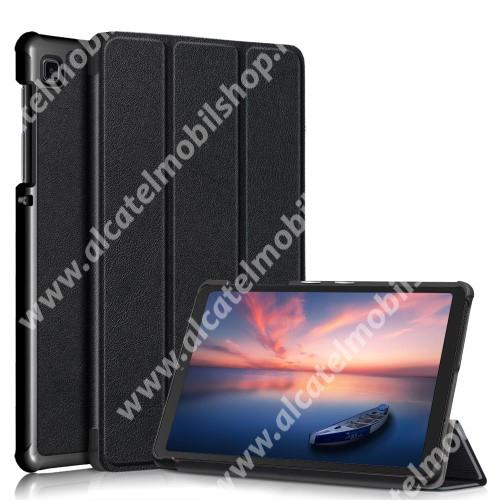 Notesz / mappa tok - FEKETE - oldalra nyíló flip cover, TRIFOLD asztali tartó funkciós, mágneses záródás, műanyag belső - SAMSUNG Galaxy Tab A7 Lite (SM-T220 / SM-T225)