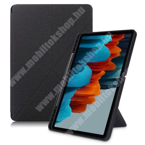 Notesz / mappa tok - FEKETE - oldalra nyíló flip cover, Origami asztali tartó funkciós, mágneses záródás, ceruzatartó, szilikon belső - SAMSUNG Galaxy Tab S7 FE (SM-T730) / Galaxy Tab S7 FE 5G (SM-T736)