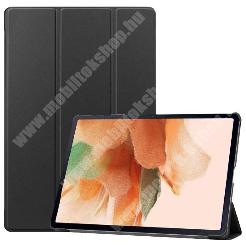 Notesz / mappa tok - FEKETE - oldalra nyíló flip cover, TRIFOLD asztali tartó funkciós, erősített sarkok, mágneses záródás, ceruzatartó, műanyag belső - SAMSUNG Galaxy Tab S7 FE (SM-T730) / Galaxy Tab S7 FE 5G (SM-T736)