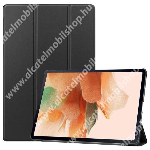 Notesz / mappa tok - FEKETE - oldalra nyíló flip cover, TRIFOLD asztali tartó funkciós, erősített sarkok, mágneses záródás, ceruzatartó, műanyag belső - SAMSUNG Galaxy Tab S7 Plus (SM-T970/T976B) / Tab S7 FE (SM-T730) / Tab S7 FE 5G (SM-T736)