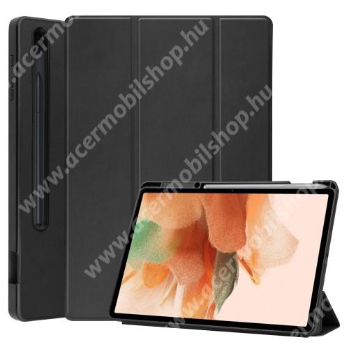 Notesz / mappa tok - FEKETE - oldalra nyíló flip cover, TRIFOLD asztali tartó funkciós, belső ceruzatartó, szilikon belső - SAMSUNG Galaxy Tab S7 FE (SM-T730) / Galaxy Tab S7 FE 5G (SM-T736)