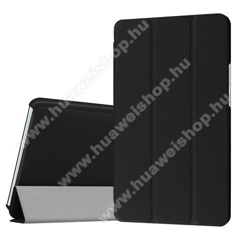 Notesz / mappa tok - FEKETE - oldalra nyíló flip cover, TRIFOLD asztali tartó funkciós, mágneses záródás - HUAWEI MediaPad M3 8.4