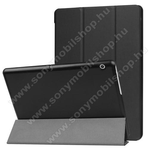 Notesz / mappa tok - FEKETE - oldalra nyíló flip cover, TRIFOLD asztali tartó funkciós, mágneses záródás - HUAWEI MediaPad T3 10