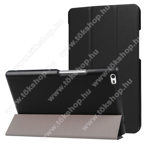 Notesz / mappa tok - FEKETE - oldalra nyíló flip cover, TRIFOLD asztali tartó funkciós, mágneses záródás - Lenovo Tab 4 8