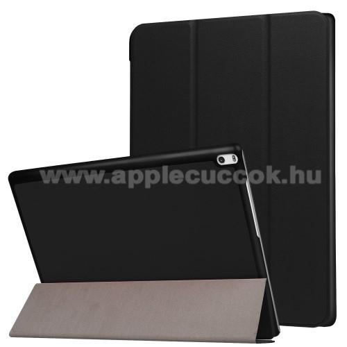 Notesz / mappa tok - FEKETE - oldalra ny�l� flip cover, TRIFOLD asztali tart� funkci�, m�gneses z�r�d�s - Lenovo Tab 4 10 Plus