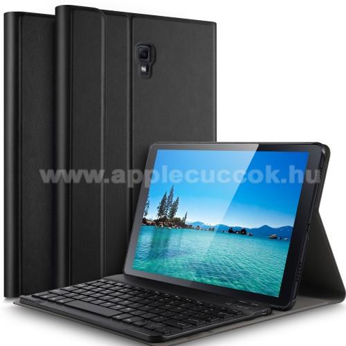 Notesz / mappa tok - FEKETE - oldalra ny�l�, m�gneses z�r�d�s, asztali tart� funkci�, kivehet? bluetooth billenty?zet (ANGOL KIOSZT�S�!) - SAMSUNG SM-T590 Galaxy Tab A 10.5 Wi-Fi / SAMSUNG SM-T595 Galaxy Tab A 10.5 LTE